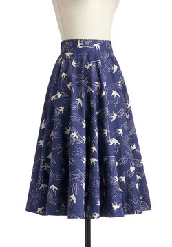 Twirling Through Town Skirt in Birds, #ModCloth