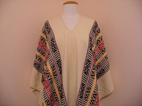 Vintage Cream/Multi Colored Pattern 70s by VintageEclectica, $58.00
