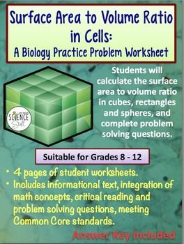 Why are cells so small? Why don't cells grow to larger sizes?  What determines how big a cell can get?  These are questions often asked by students in a biology or life science class.  Students will discover the answers to these questions in this worksheet on surface area to volume ratio in cells.