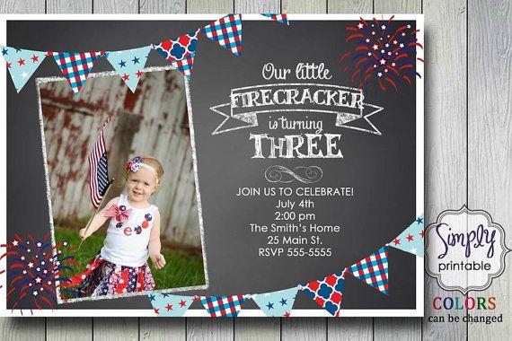 4th of July Invitation  Birthday $12