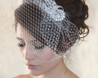 Check out Wedding Birdcage Veil with Crystal rhinestone brooch VI01 Comb or Headband. on wearableartz