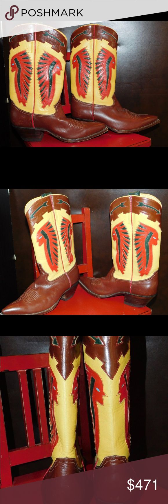 Boots Womens Indian Chief Chieftan this is  a beautiful pair of rocketbuster boots. these are a womens size 8. these are an ox blood color with yellow and a chief with a head dress on. rocketbuster Shoes Ankle Boots & Booties