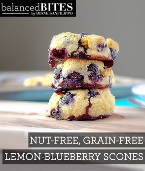 Nut-Free, Grain Free, Lemon-Blueberry Scones  Balanced Bites | Balancedbites.com Grain free recipes dinner grain free recipes dessert most popular on Pinterest. Recipe updates DAILY ☺♥☺ #carbswitch carbswitch.com Please Repin :)