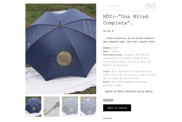 """"""" Una Mitad Completa"""".Paraguas Sinvergüenza pintado a mano por MÔf. www.moflasinverguenza.com"""