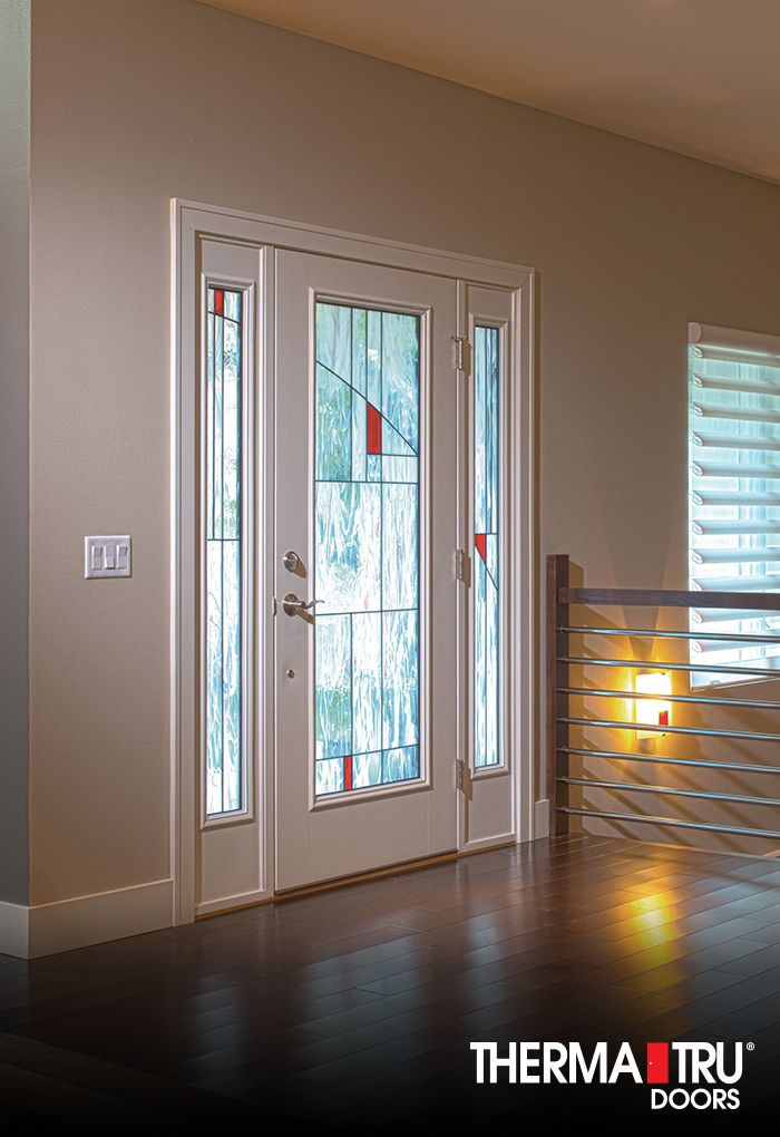 Therma Tru Smooth Star Fiberglass Door Painted Simple White With Element  Decorative Glass.