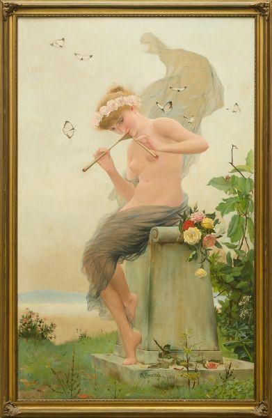 """RODOLPHO AMOEDO (1857-1941). """"Ninfa Tocando Aulo no Jardim"""", óleo s/ tela, 1,30 x 0,80._ Ainda hoje. #Leilões Online.   Veja ao vivo a partir das 20h.  Repasse aos amigos!"""