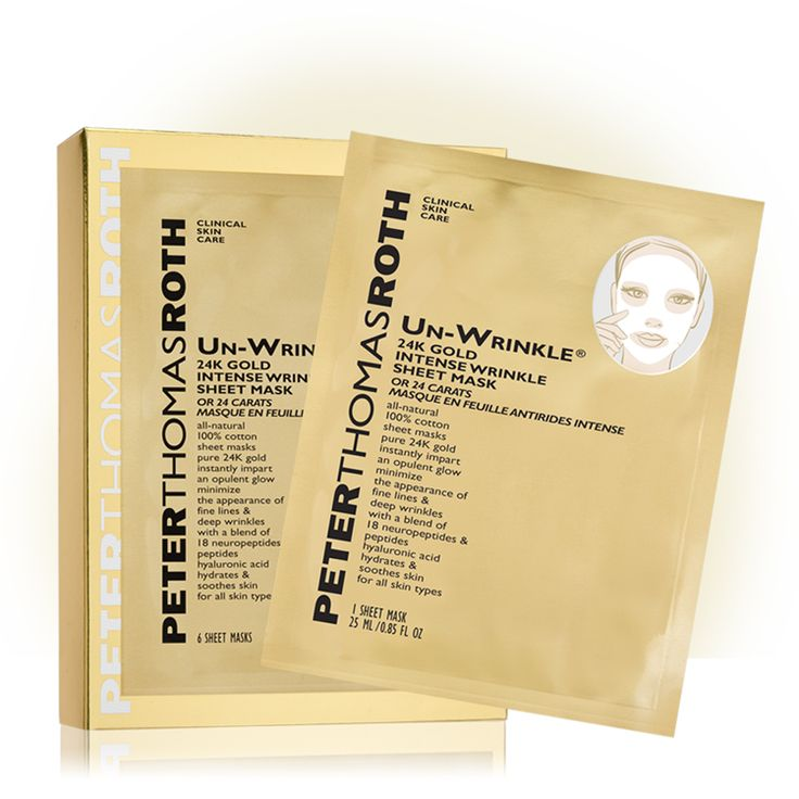 Premium 100% cotton sheet masks are pre-soaked with potent anti-aging ingredients to help minimize the appearance of fine lines and deep wrinkles – instantly and over time. These single-use treatments adhere to the shape of the face, infusing skin with a powerful solution of 18 neuropeptides and peptides, pure 24K Gold and Hyaluronic Acid to help visibly reduce the appearance of the six most stubborn deep wrinkles and expression lines.