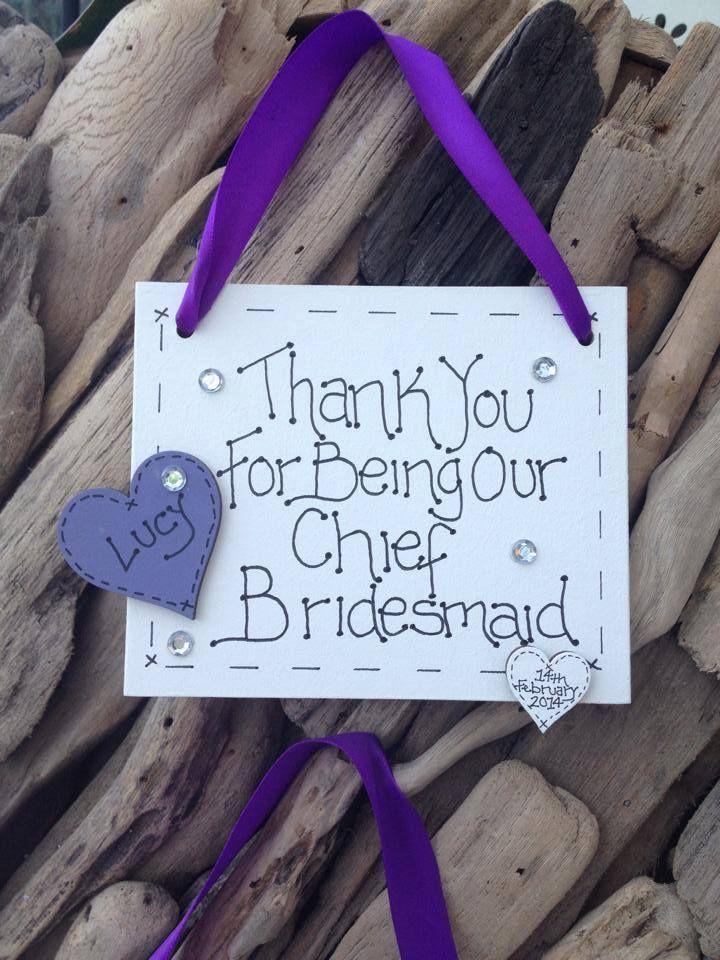 Personalised Plaque Sign Bridesmaid Pageboy Parents Wedding Thank You Gift