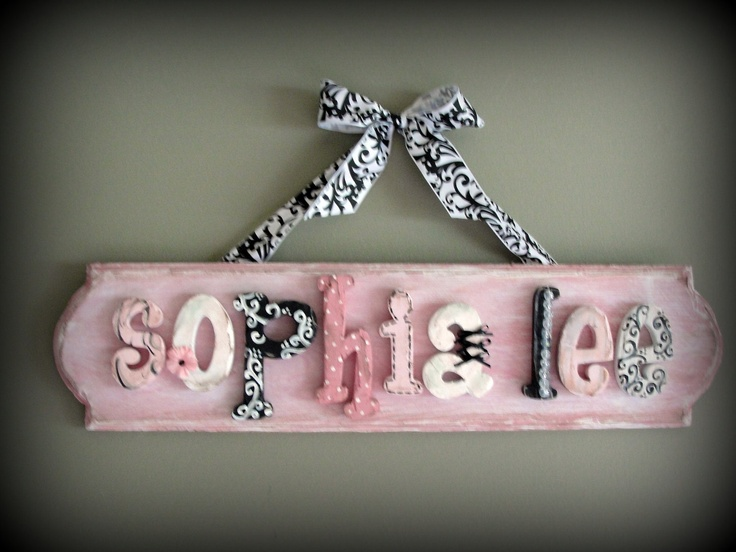 9 letter limited edition custom name sign plaque - sophisticated antique chic princess -- made to order for your decor, style and taste. $175.00, via Etsy.