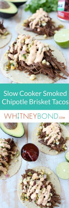 Brisket Tacos are slow cooked in a smokey chipotle rub and stout beer, shredded and served in tortillas with Roasted Corn Salsa & Creamy Chipotle Sauce.