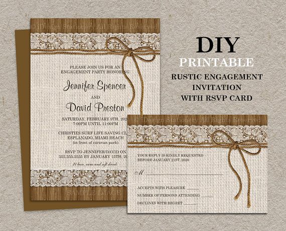 Rustic Engagement Invitation With RSVP Card, Printable Burlap Engagement Invitation With RSVP, DIY Rustic Engagement Party Invitation on Etsy, $23.35 AUD