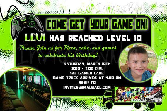 Video Game Truck Birthday Invitation by InvitesByMaL on Etsy – Video Game Party Invitation