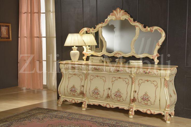 Credenza e specchio in stile olandese, laccati a mano, massiccio. # ...
