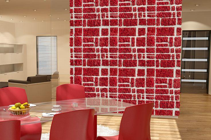 Czerwone ściany Moss Trend®! Pamiętajcie, że możecie decydować o własnym wzorze.  www.banditdesign.pl  #mech #dekoracja #chrobotek #czerwony #dekoracjaścian