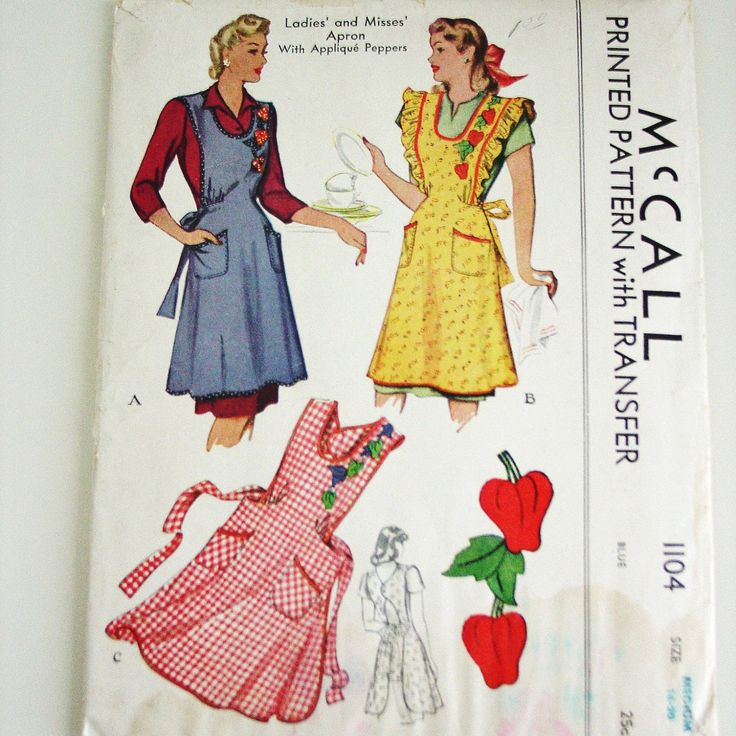 Vintage Apron Patterns | Vintage Apron Pattern 1940's McCall 1104 Printed Pattern with Transfer ...