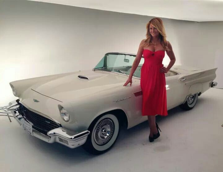 Courtney Hansen and a 1957 Ford Thunderbird