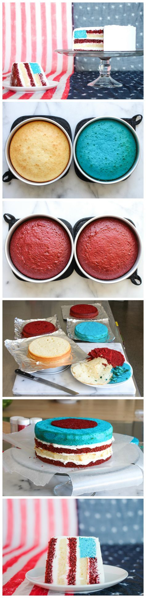 This American flag surprise cake is a great 4th of July dessert! Click for the full tutorial on Instructables. :D