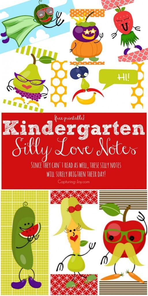 Kindergarten Silly Love Notes, a great way to send your little one off to school, if they can't quite ready lunch box jokes yet (find more jokes on Capturing-Joy.com)