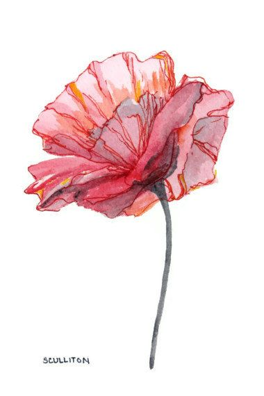 Watercolor Poppy Flower Original Watercolor Art painting Flower art pink red gray