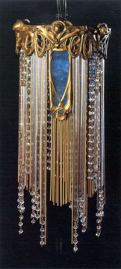 Hector Guimard, Chandelier, 1909 ~ Chiselled golden bronze, coloured glass, beads and glass tubes, brass and copper structure. Musée d'Orsay, Paris.