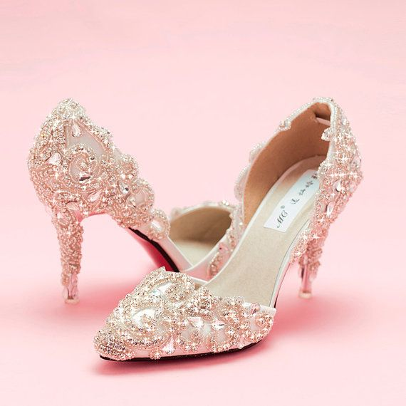 High-end custom leather flash diamond bridal wedding by Queenheels