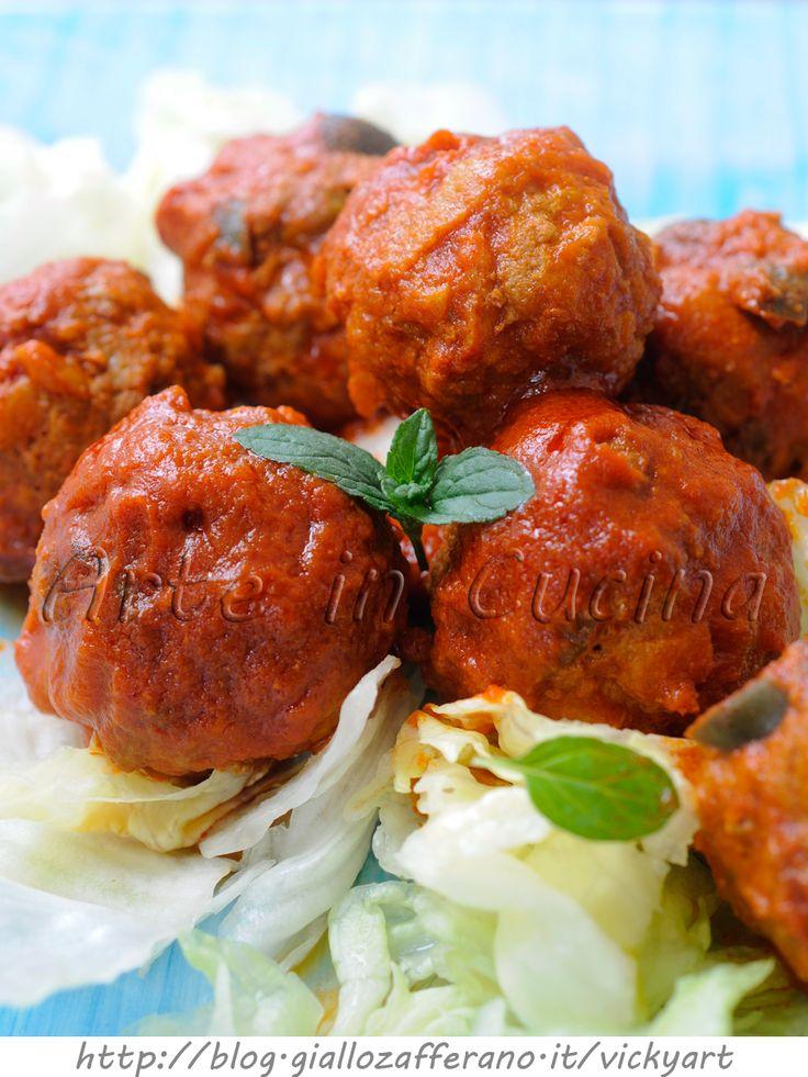 #Polpette con #melanzane #olive e #capperi vickyart arte in cucina #pomodoro #ricetta #recipes #tomato #recipe #italianrecipe