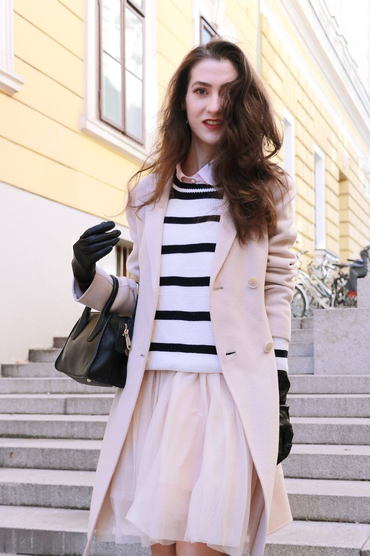 Fashion blogger Veronika Lipar of Brunette From Wall Street as a princess leaving Ljubljana castle to rule the streets in a Fashion Story about tulle dress and striped sweater