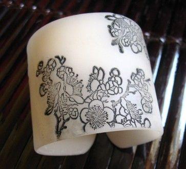 Milky White Translucent Cuff contemporary napkin rings