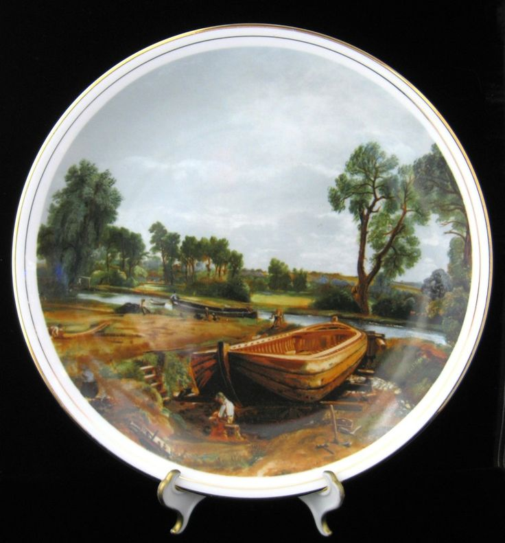 Large Plate Boat-Buiding Near Flatford Mill Constable 1970s Fenton England Charger