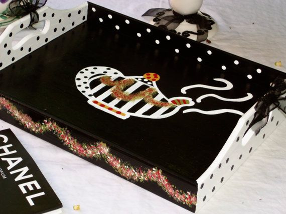 Whimsical Serving Tray Hand Painted Teapot Black by TresSuzette, $42.00