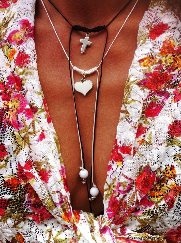 Handmade long macrame necklaces #handmademacramenecklaces #macramenecklaces #beachstyle #greeksummer #μακραμέ #almanogr