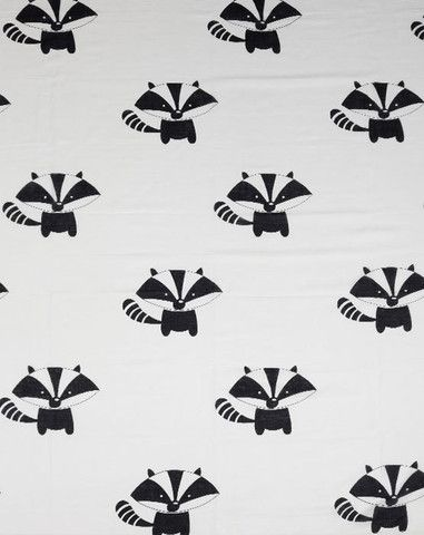 Baby Muslin Wrap Raccoon Black and White Monochrome 100% Cotton - Ivaleegifts