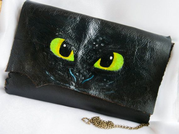Bezzubá bag, koža spojka, ručné kožená peňaženka, ručne šitá, bezzubý drak vak