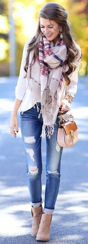 aztec scarf // BP cardigan // white tunic // Lucky wedge booties #aztec
