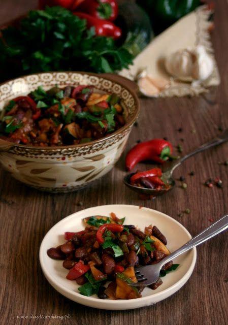 Czerwona Fasola Z Papryka Cukinia I Pomidorami Gotowanie Food