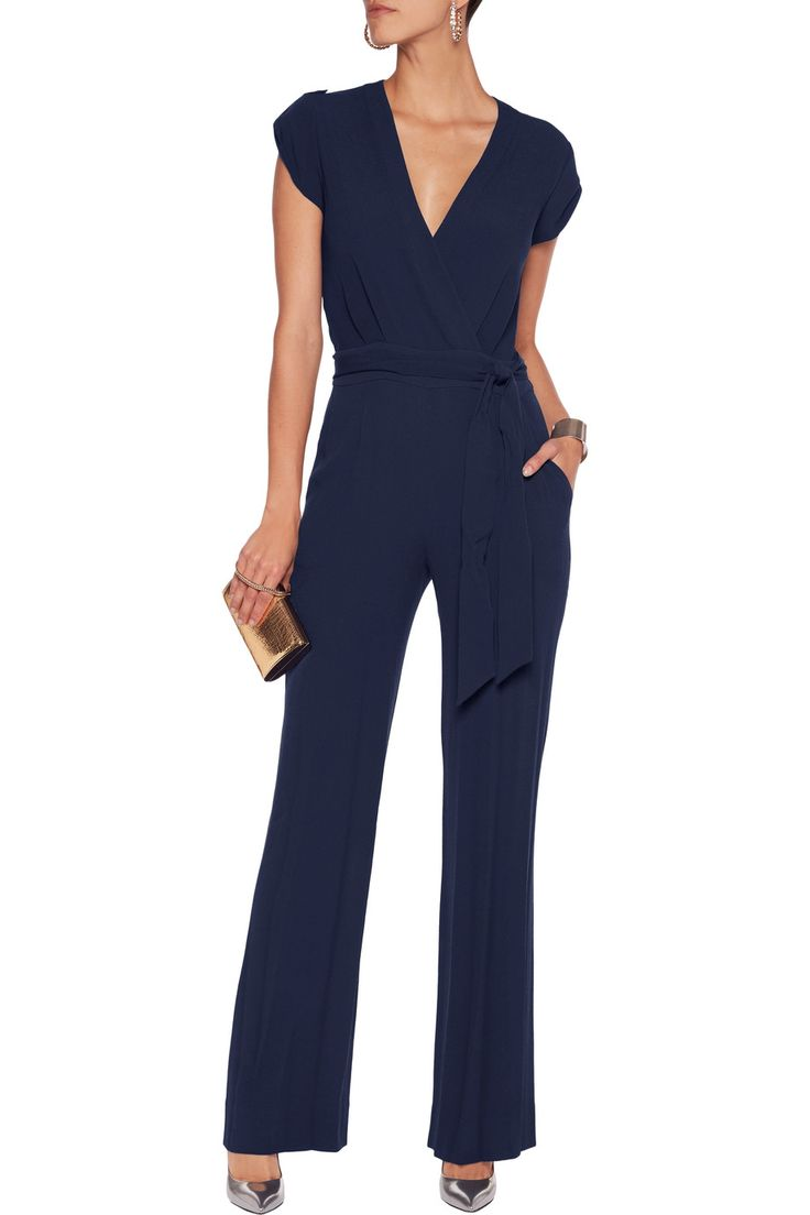 Shop on-sale Diane von Furstenberg Purdy wrap-effect crepe jumpsuit. Browse other discount designer Jumpsuits & more on The Most Fashionable Fashion Outlet, THE OUTNET.COM