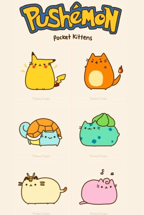 Pokemon is cute as Pusheen is plump.