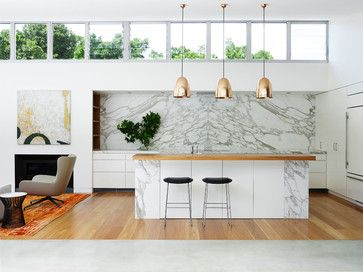 Pavilion House contemporary-kitchen allows plenty of light into the space #LivingSpaceAU