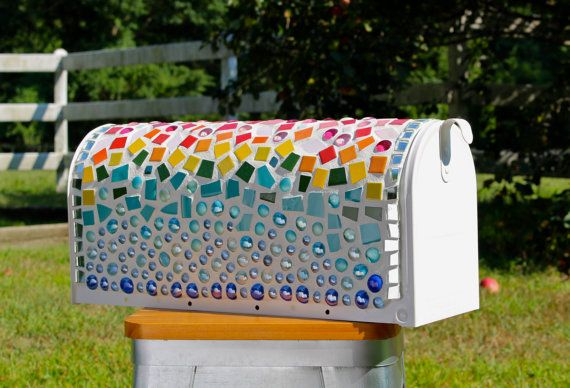 Mosaic Rainbow US Mailbox by GrainnesGoods on Etsy