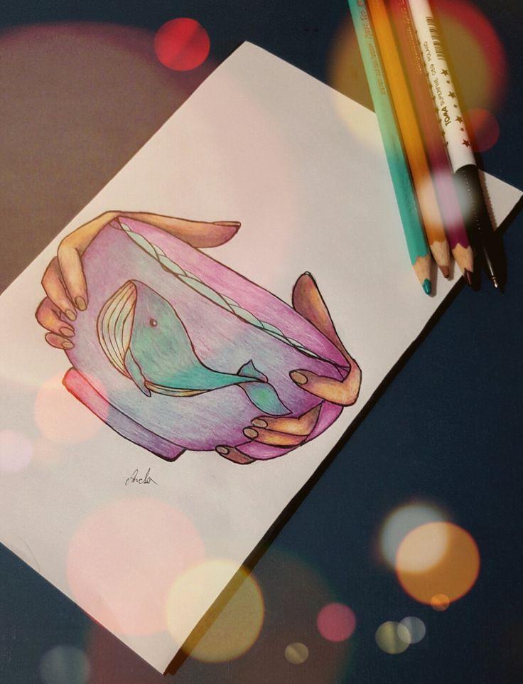 """rysunek mini wieloryby mieszkającego w misce w skrócie: """"WmwM"""" Autorstwa Amelii.R."""