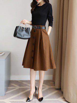 Color-block Long Sleeve A-line Elegant Midi Dress