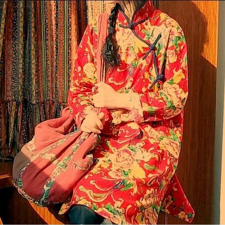 Encontrar Más Vestidos Información acerca de 2016 nuevas mujeres de algodón de lino chino del Collar del soporte Manual botones sueltos nostálgico literaria ocio vestido de bata, alta calidad mezcla de lino y algodón, China ropa de algodón de la rebeca Proveedores, barato ropa de cama edredón de Johnature en Aliexpress.com