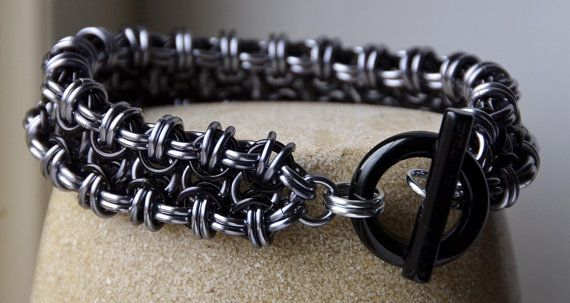 Black & Ice Chainmaille Bracelet with Black Stone Clasp