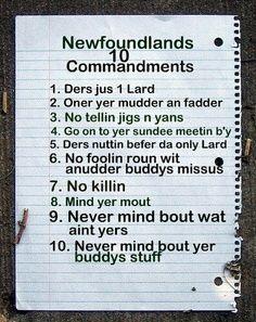 Newfoundlands 10 Commandments
