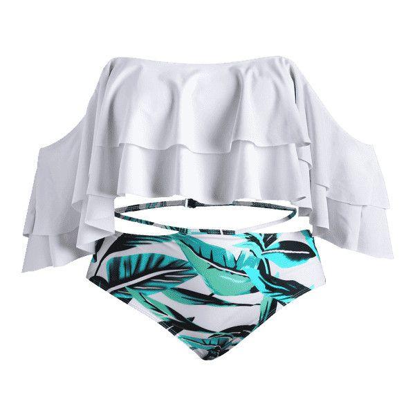 Leaf Print Off The Shoulder Plus Size Bikini Set ($21) ❤ liked on Polyvore featuring swimwear, bikinis, bikini swimwear, bikini two piece, plus size bikini swimwear, plus size swim wear and white plus size swimwear