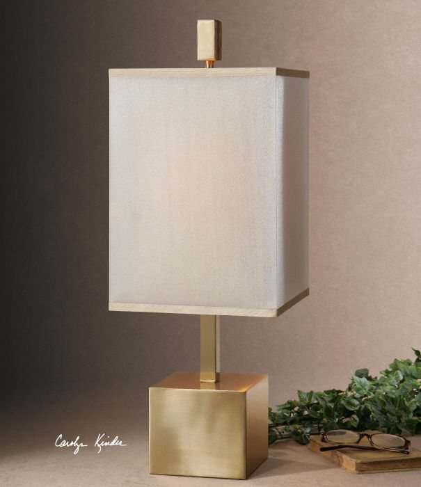 uttermost flannigan brass accent lamp brushed brass plated metal the double square hardback shades