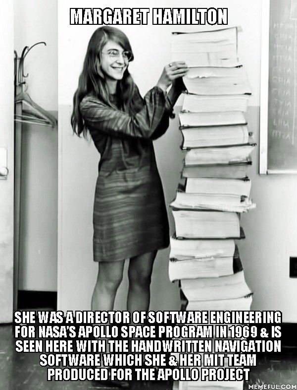 Margaret Hamilton she Was A Director Of Software Engineering For Nasa's Apollo Space program in 1969 & is seen here with the handwritten navigation software which she & her MIT team produced for the Apollo project