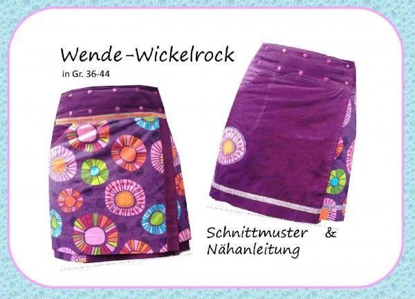 Nähanleitung, Schnittmuster Wenderock / Wickelrock Gr. 36-44