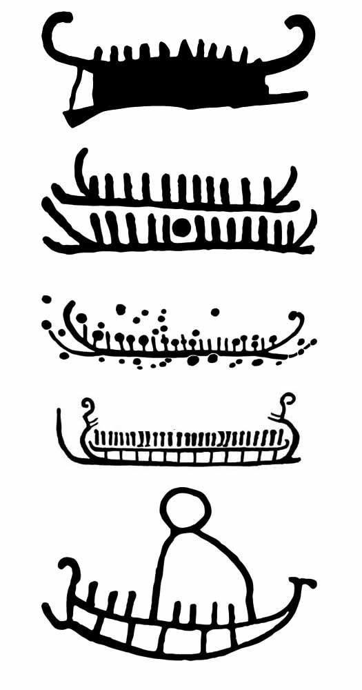 Pictures of ships during danish Bronze Age. Skibsbilledet udvikler sig gennem hele bronzealderen. Det går fra at være temmelig detaljeret til at blive mere abstrakt.