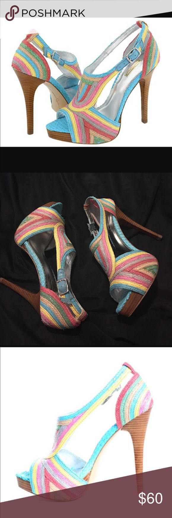 """Report Signature """"Lucie"""" Braided Raffia Shoes Report Signature """"Lucie"""" Braided Raffia Shoe; size 8, 4 3/4"""" stacked heel with 3/4 platform; Beautiful pastel colors; great condition Report Signature Shoes"""